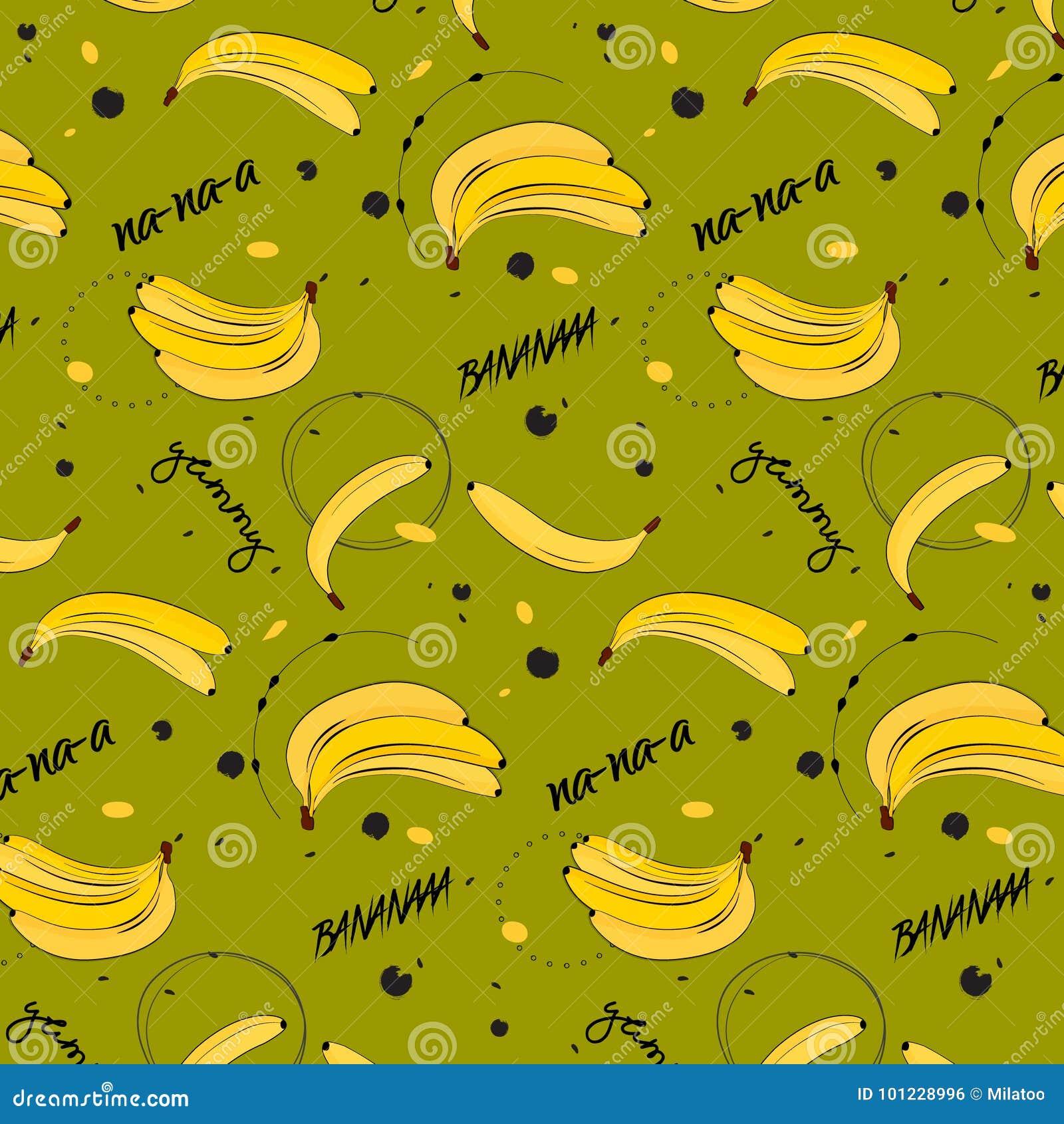 Vitamin tasty bananas pattern. Tropical food vegetarian organic background. Exotic banana drawing. Yummy beach summer
