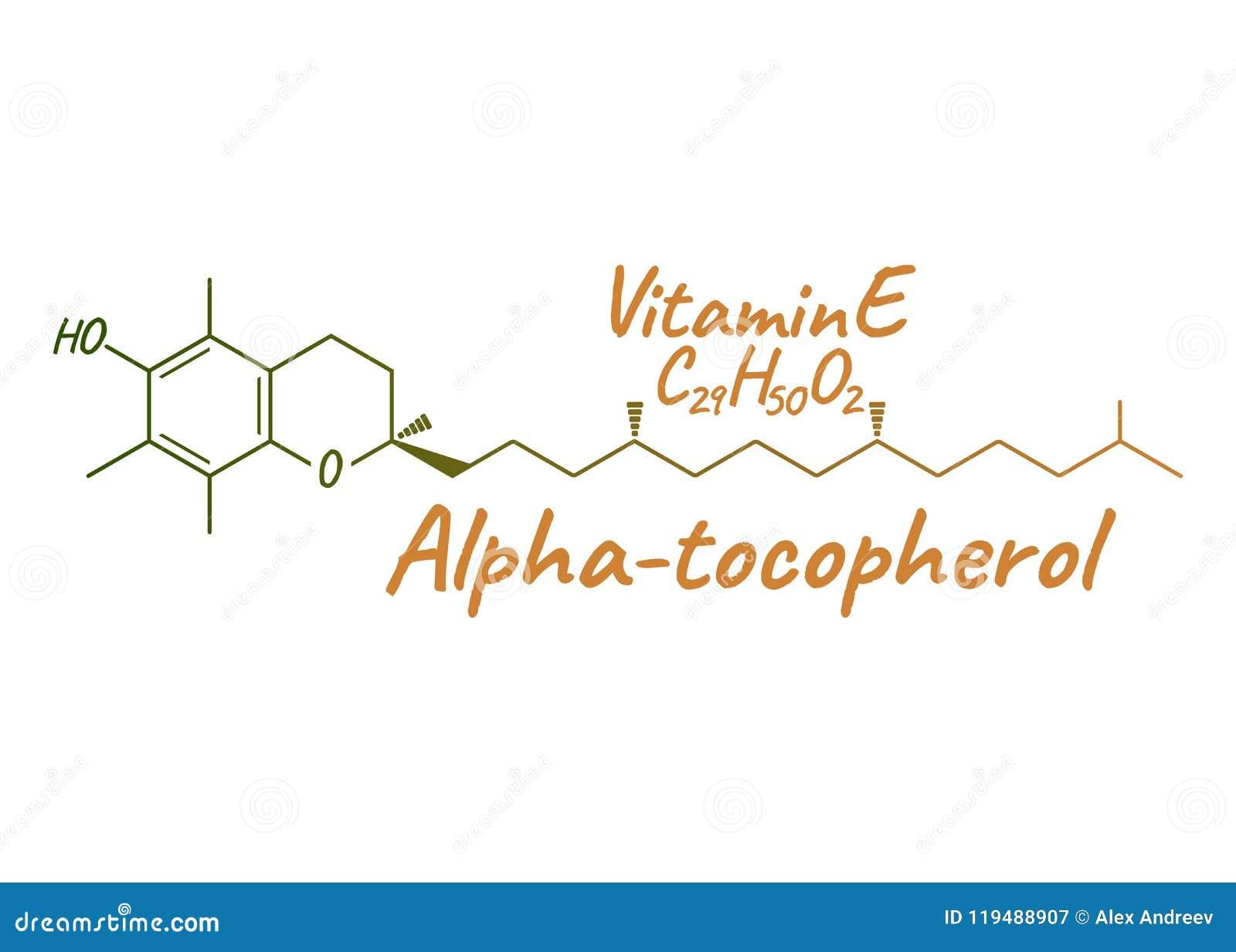 Vitamina E, Alpha Tocopherol Label e icono Fórmula química y
