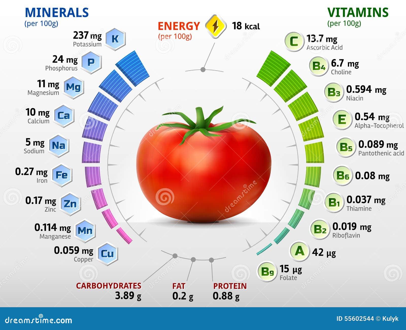 vitamine und mineralien der tomate vektor abbildung bild 55602544. Black Bedroom Furniture Sets. Home Design Ideas