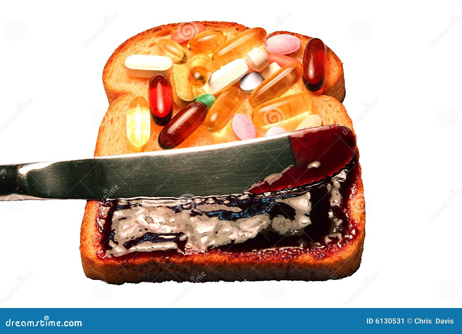 Vitamins on bread