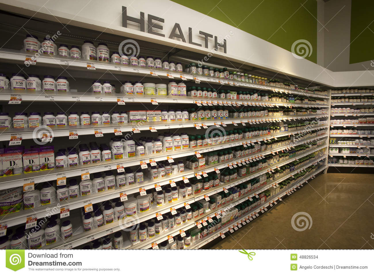 Vitamins Health, shop shelves. Pharmaceutical products