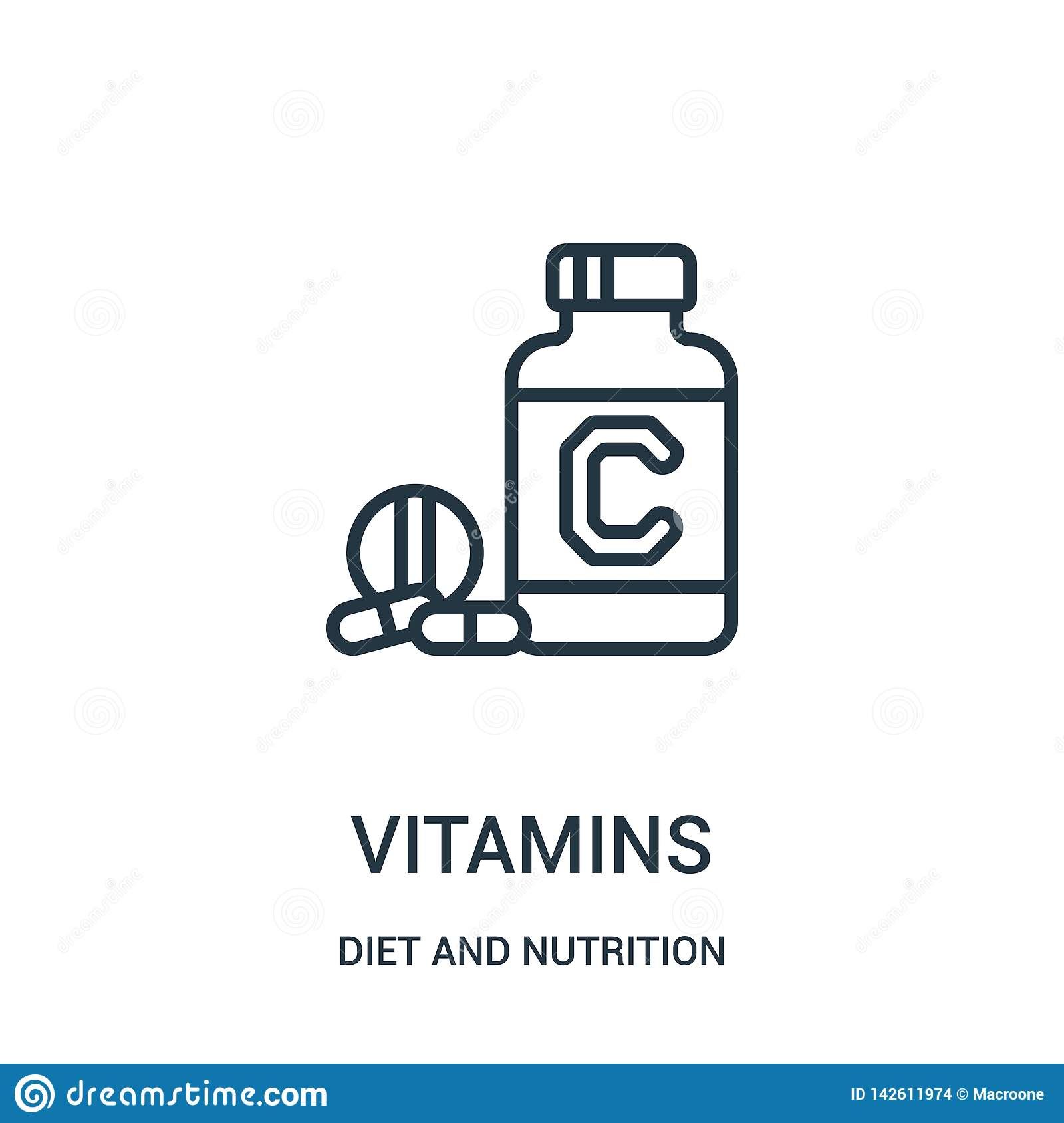 vitamins icon vector from diet and nutrition collection. Thin line vitamins outline icon vector illustration. Linear symbol