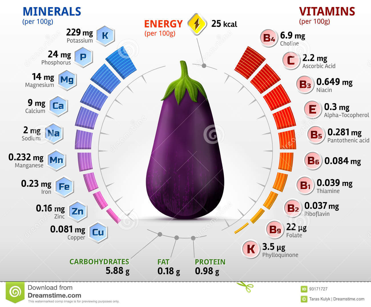Vitamins and minerals of eggplant fruit stock vector illustration download comp ccuart Image collections