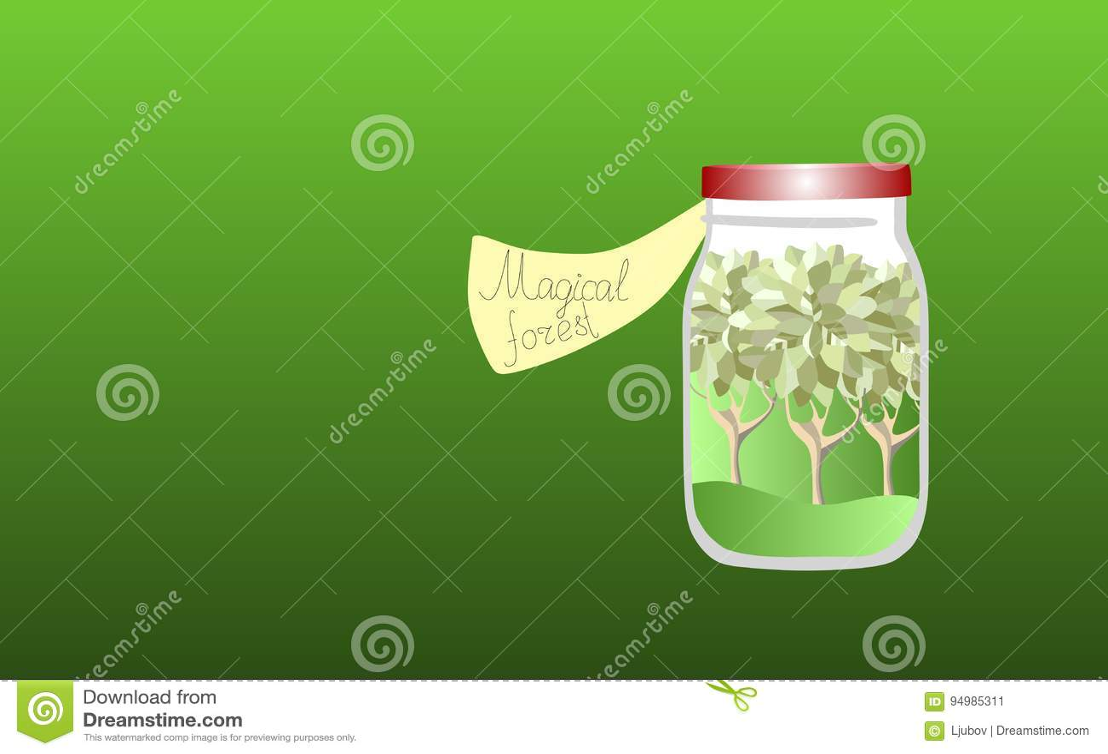 Vitamins for the Soul 3. Allegorical illustration. Medicine for the soul. Magic forest