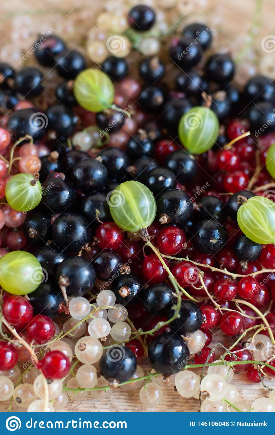 Vitamins. Summer berries. Red currant background. Close up, selective focus. Harvest Concept