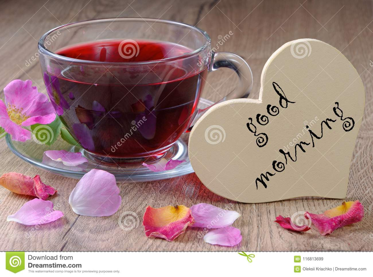 Vitamins Tea Good Morning Hibiscus Tea And Wild Roses On A Wooden
