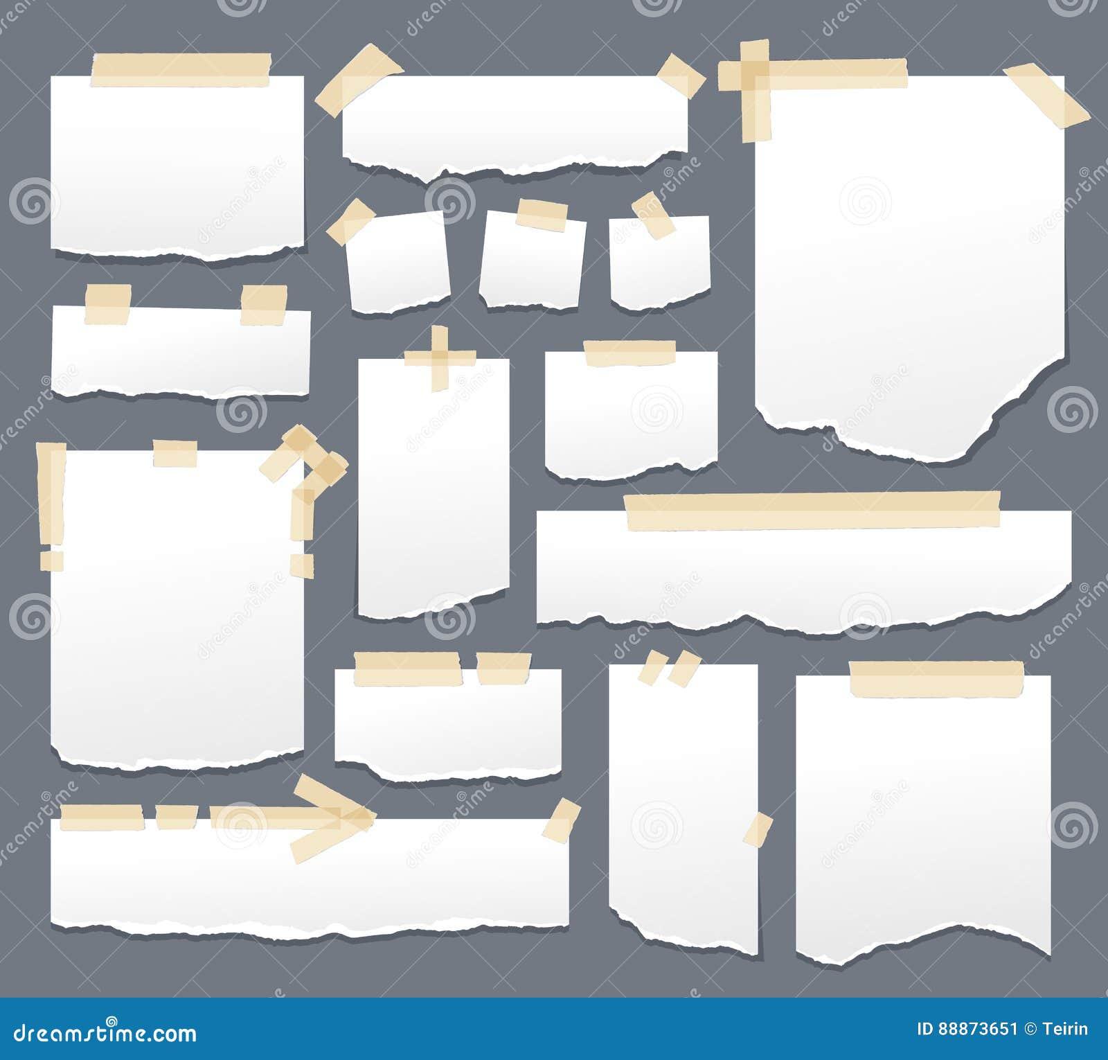 Vitbokark med tejpuppsättningen Klibbig legitimationshandlingar med självhäftande tejp gör randig vektorillustrationen Arksida