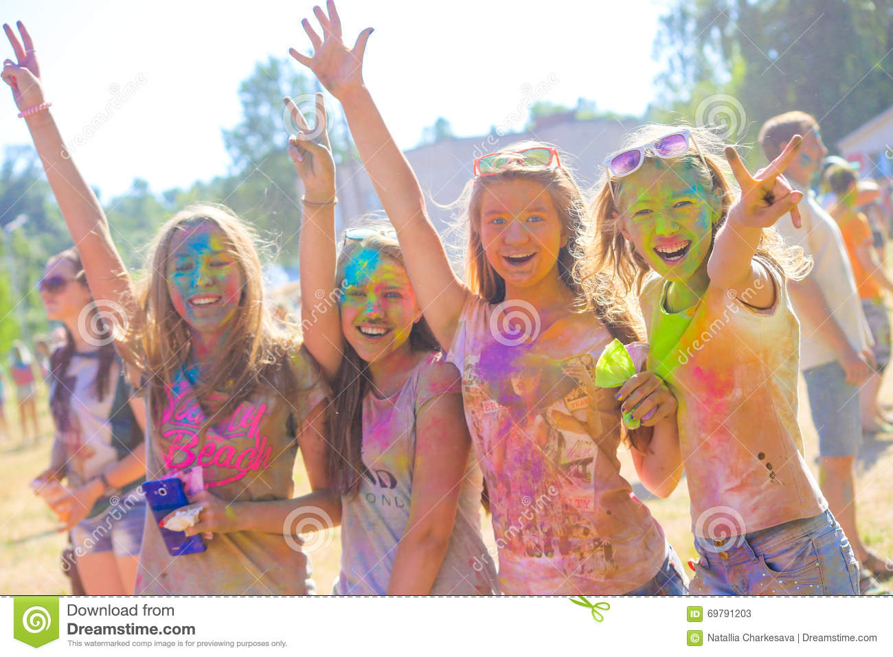 vitebsk belarus july 4 2015 happy people at the holi color festival editorial stock photo. Black Bedroom Furniture Sets. Home Design Ideas