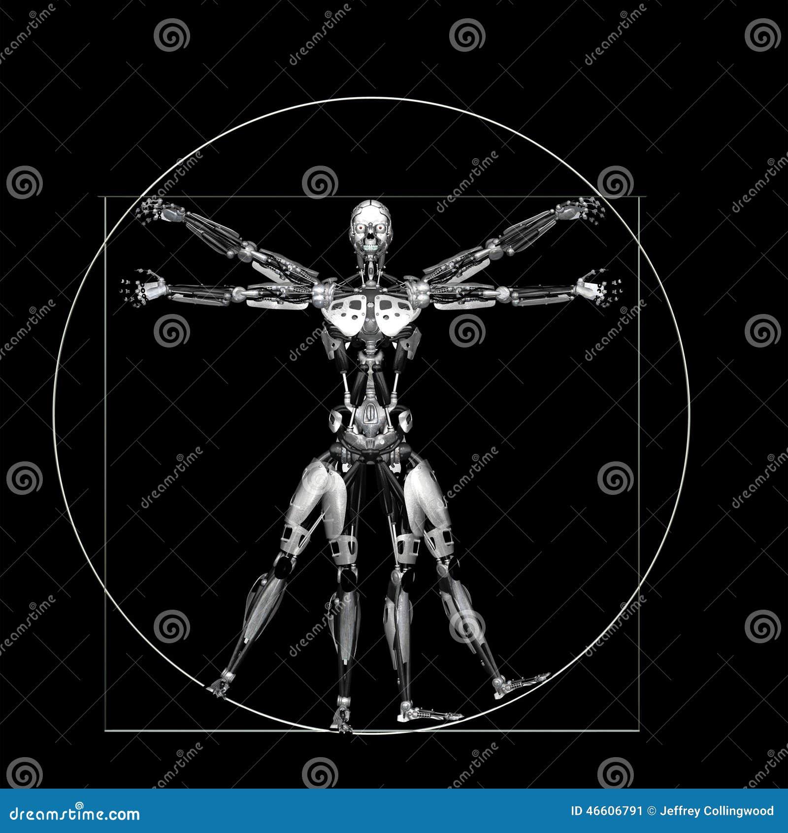 机器人- vitruvian -银:在列奥纳多达芬奇vitruvian样式姿势的一个图片