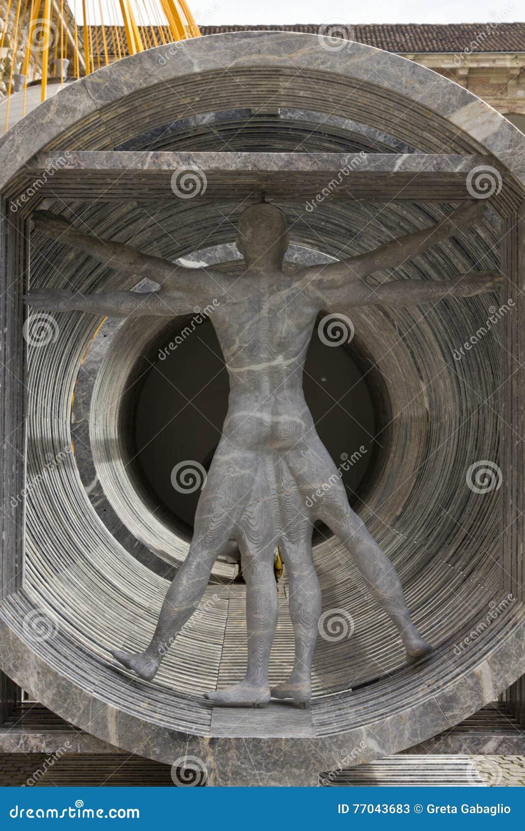 Vitruvian man made in marble