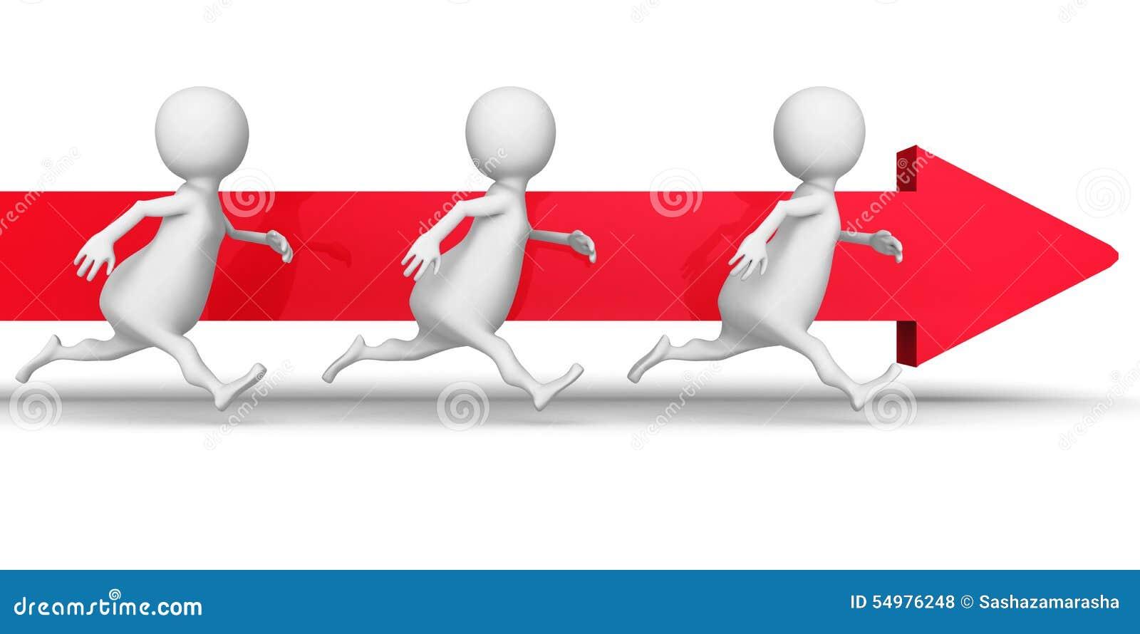 Vitt 3d folk Team Running Forward Arrow Framgångaffären lurar
