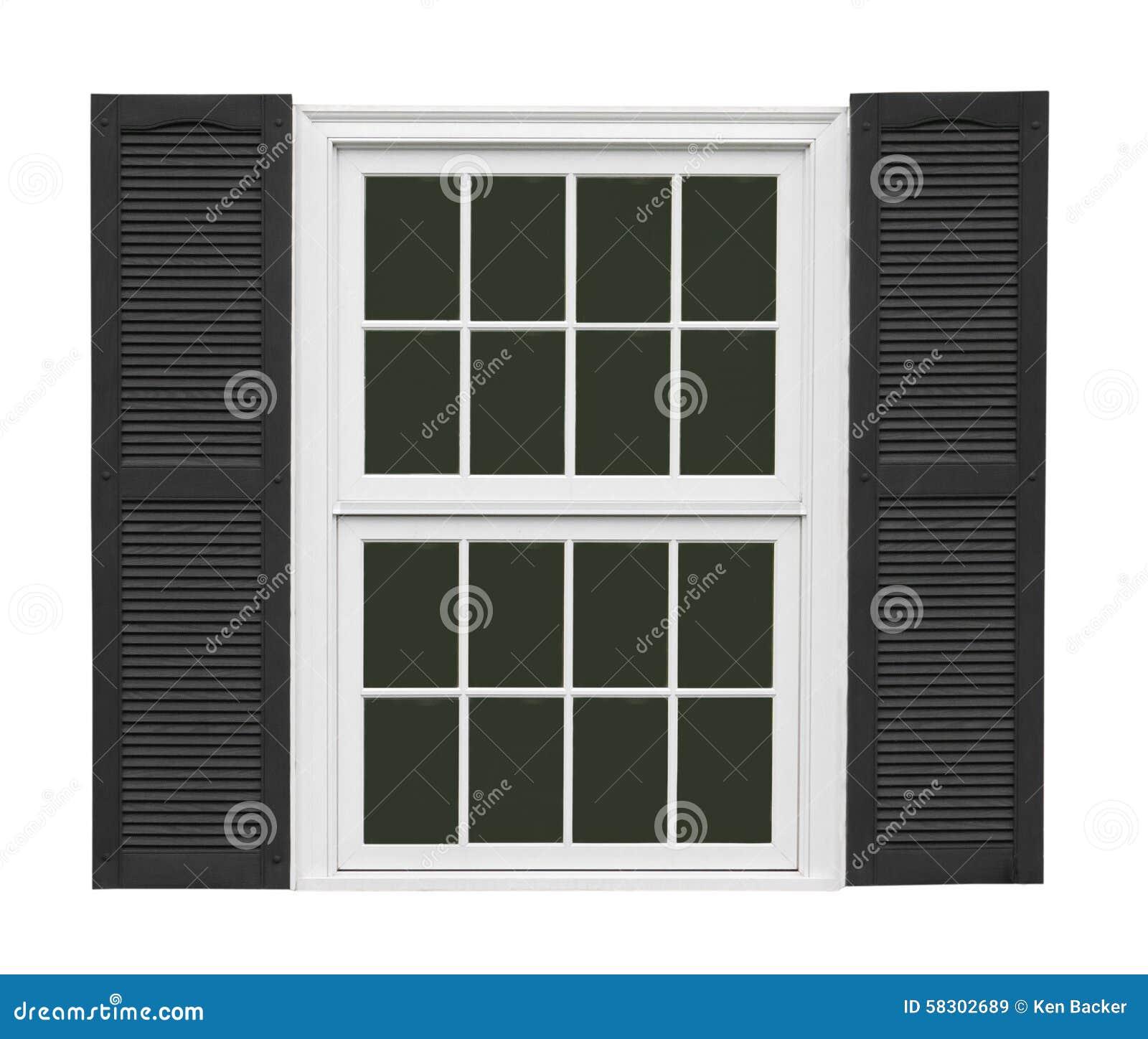 Vitt fönster med isolerade svartslutare