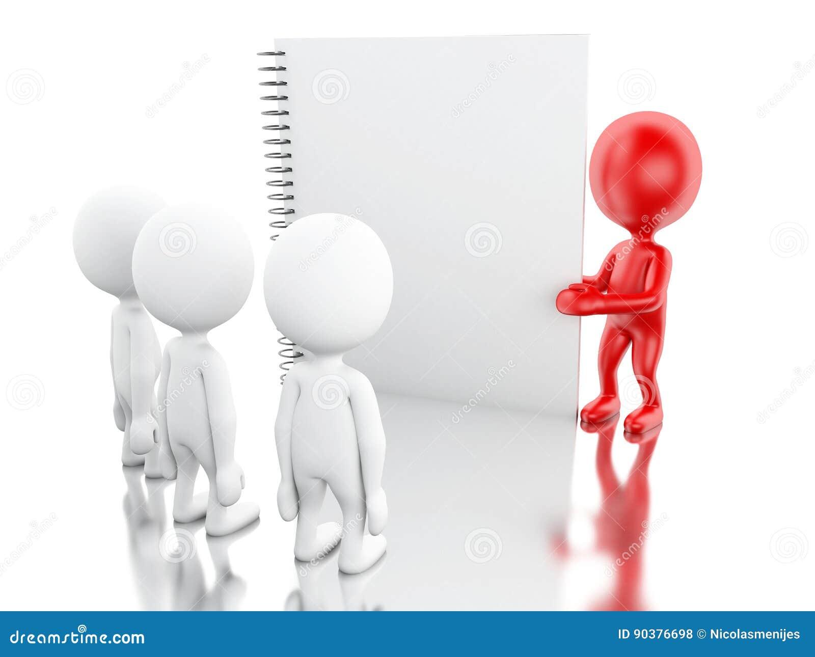 Vitt folk 3D och rött ledarskap med en notepad