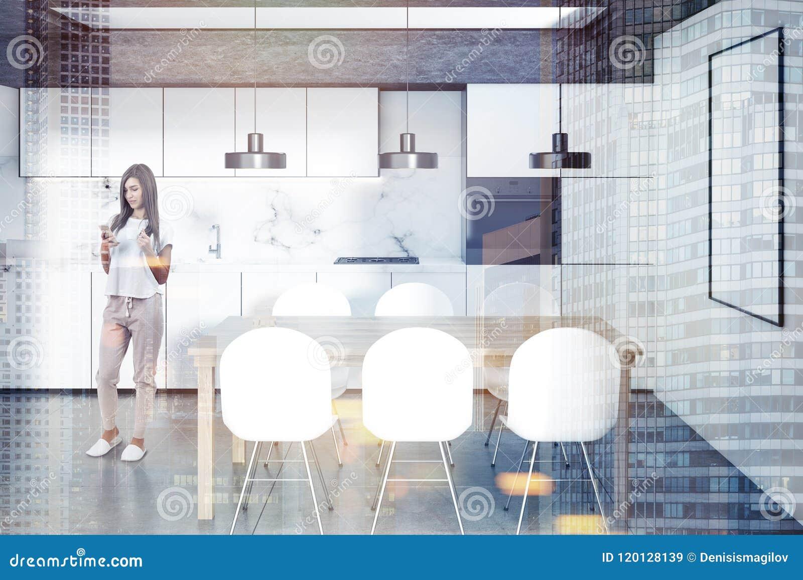 Vitt kök, trätabell, affisch, kvinna