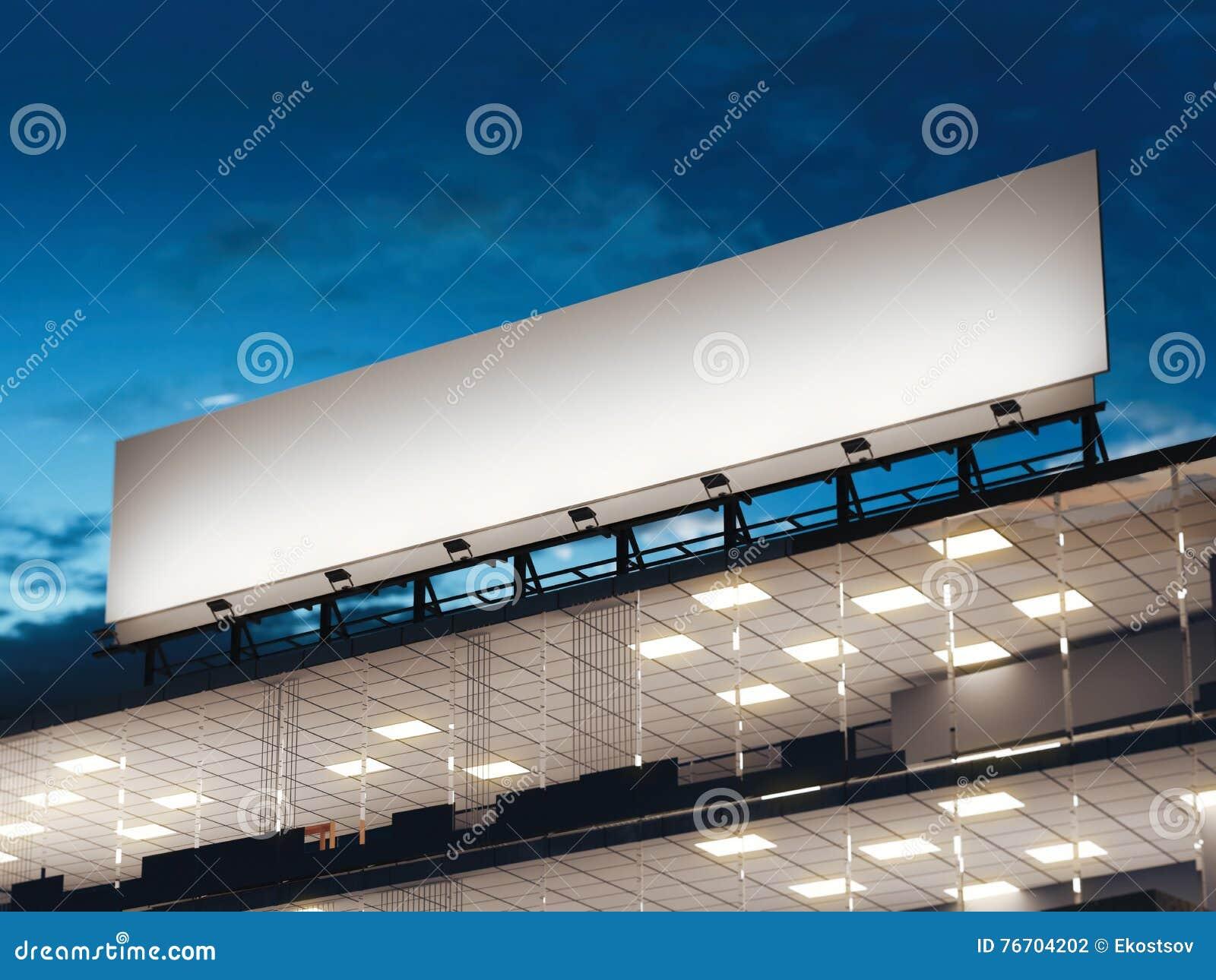 Vitt långt affischtavlaanseende på en kontorsbyggnad framförande 3d
