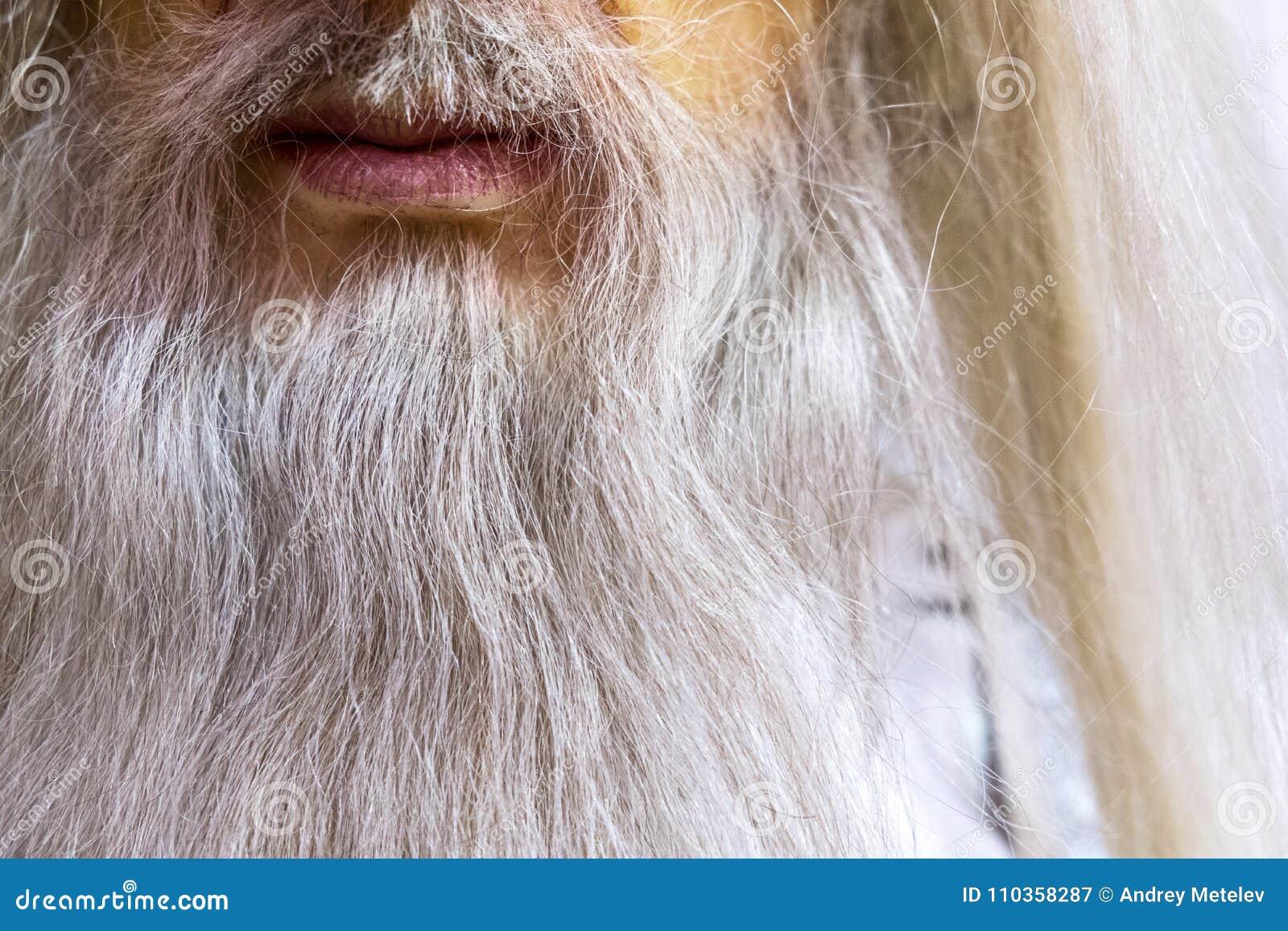 Vitt långt skägg av en trollkarl, ett vaxdiagram nära, en mun och ett skägg