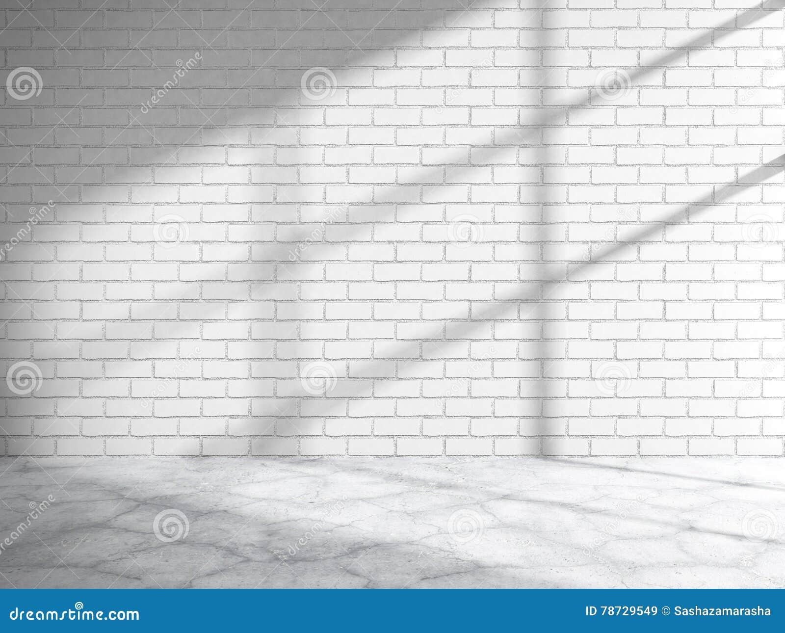 Vitt rum för tegelstenvägg med fönstersolljus Abstrakt tom inte