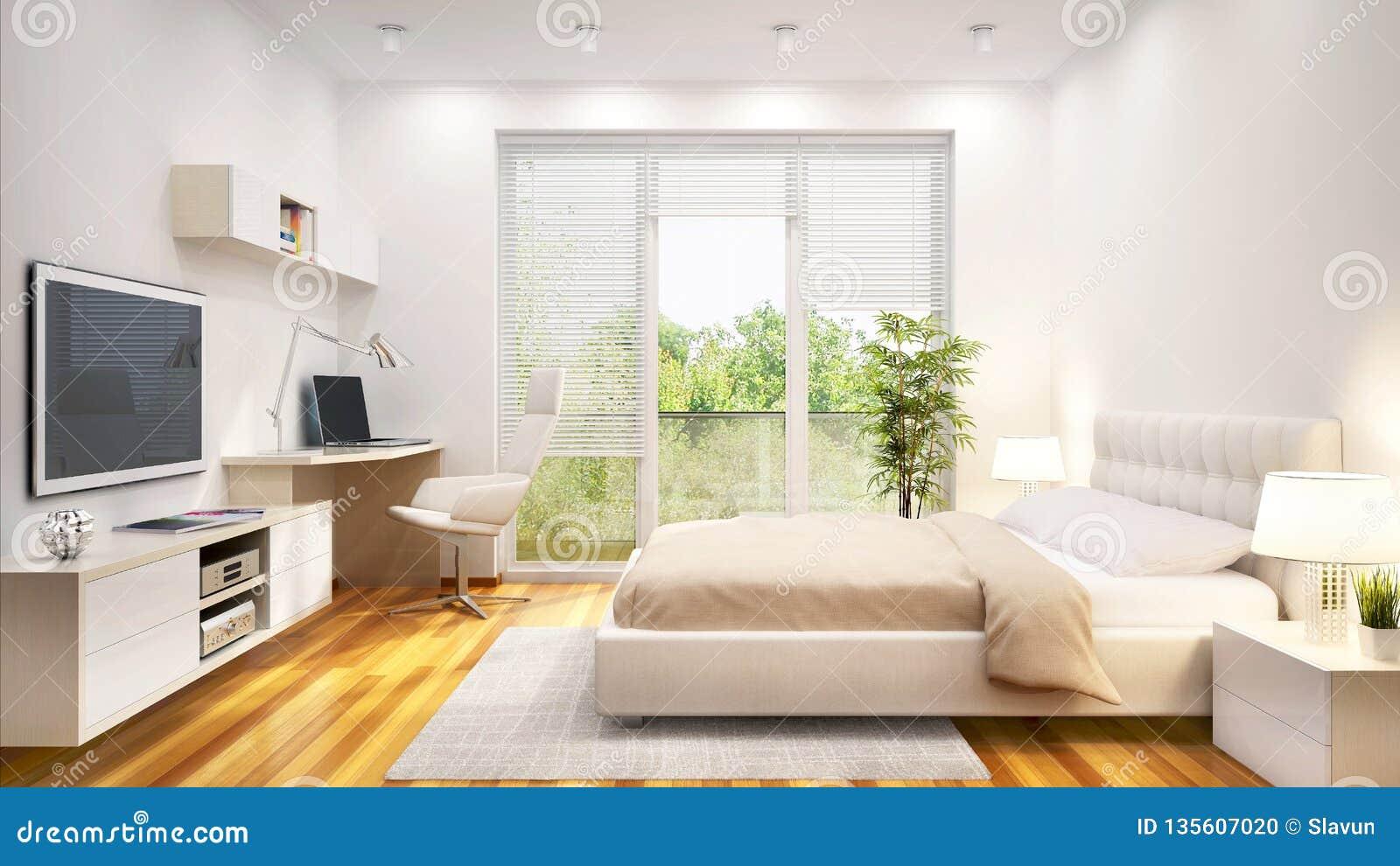 Vitt sovrum för modern design i ett stort hus