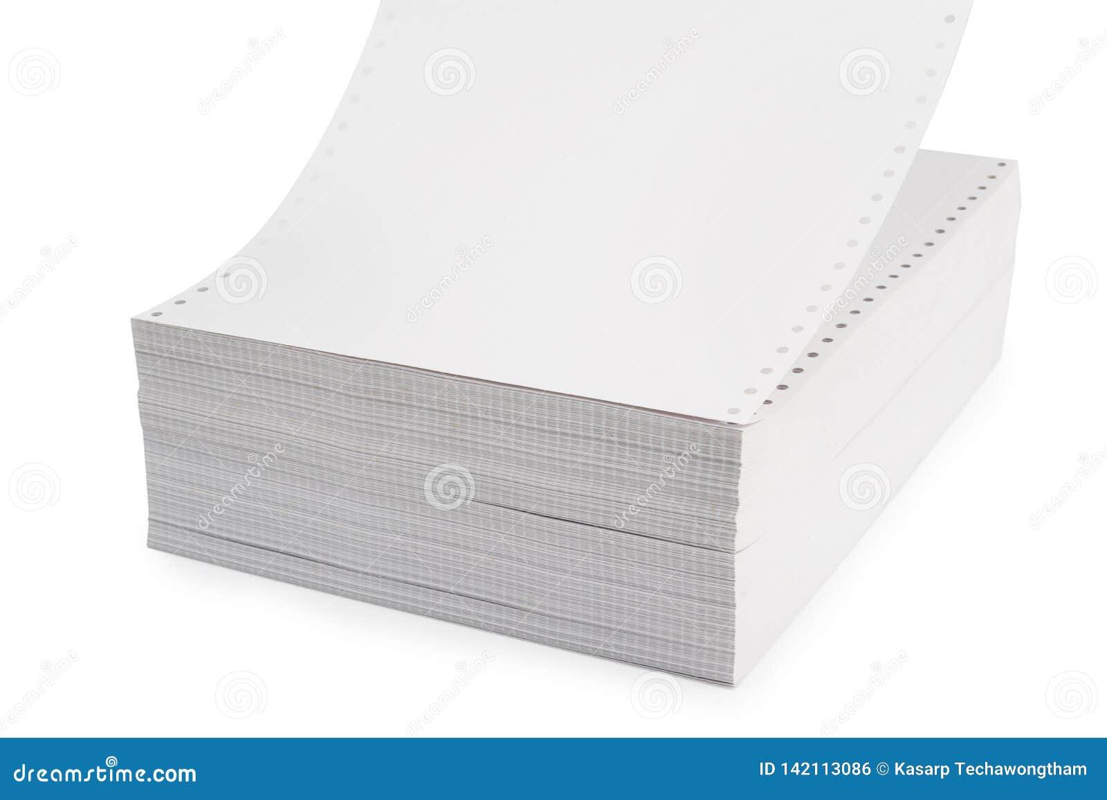 Vitt Traktor-matning papper eller datalistpapper, fortlöpande papper för skrivare för matning för traktor för prickmatris för bru