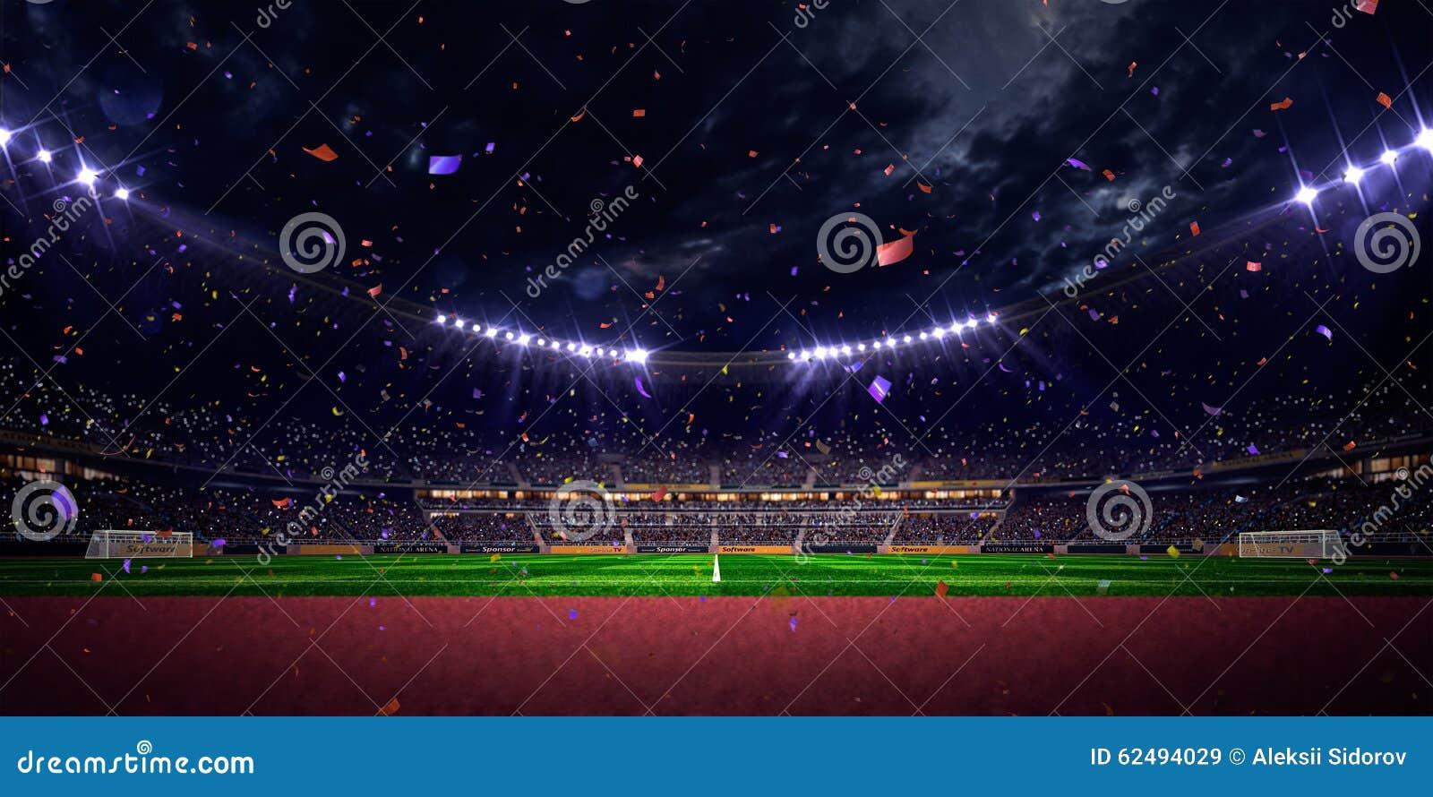 Vittoria di campionato del campo di calcio dell arena dello stadio di notte Tonalità blu