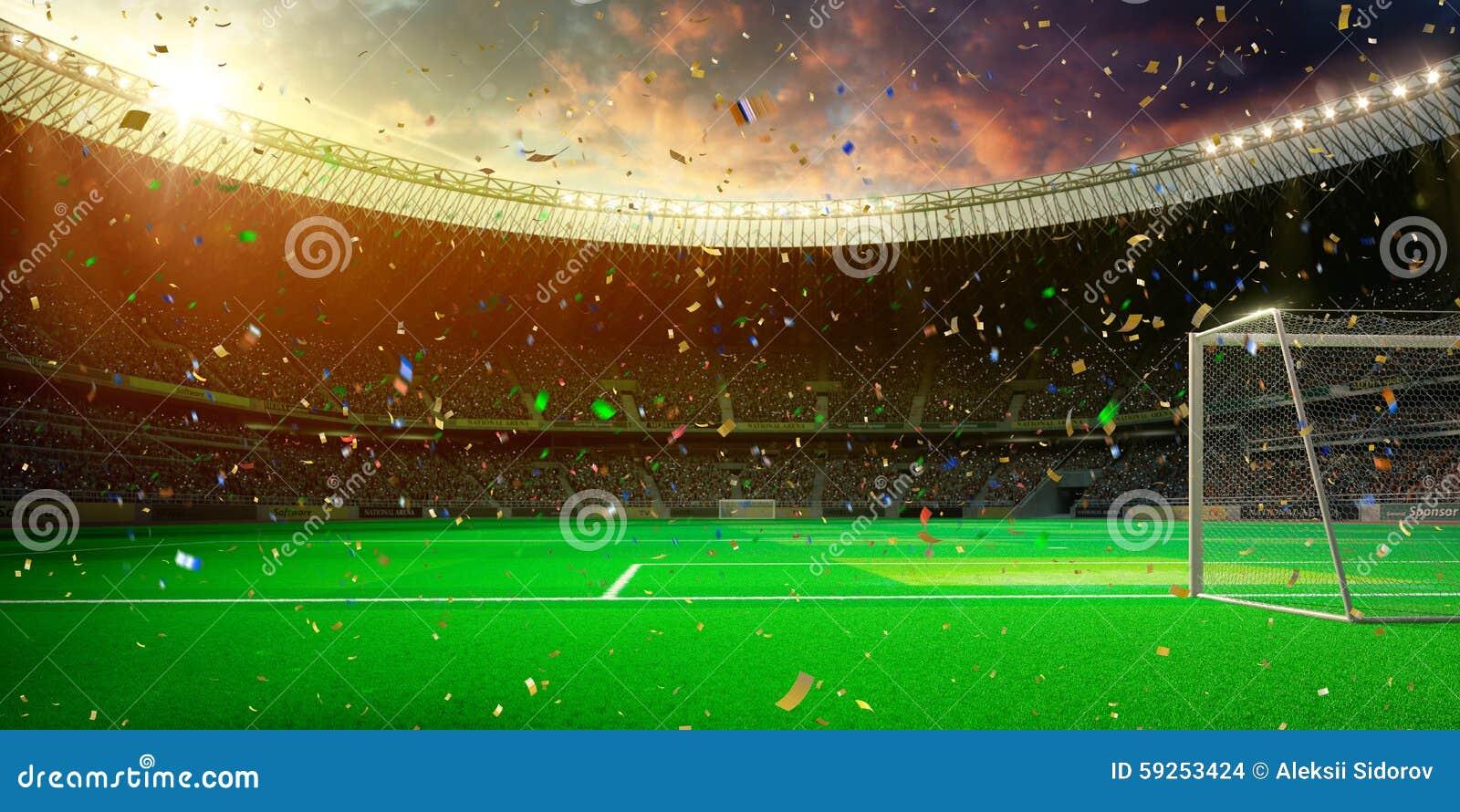 Vittoria di campionato del campo di calcio dell arena dello stadio di sera!