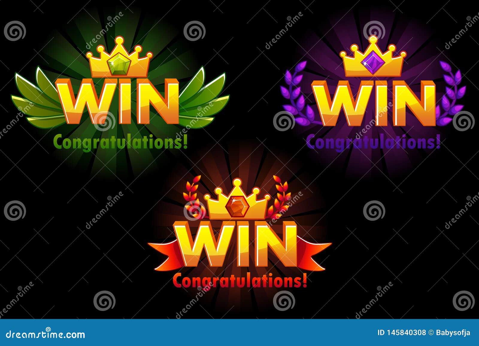 VITTORIA dorata Le versioni di vettore hanno isolato la vittoria di logo con le gemme preziose colorate per i 2D giochi di svilup