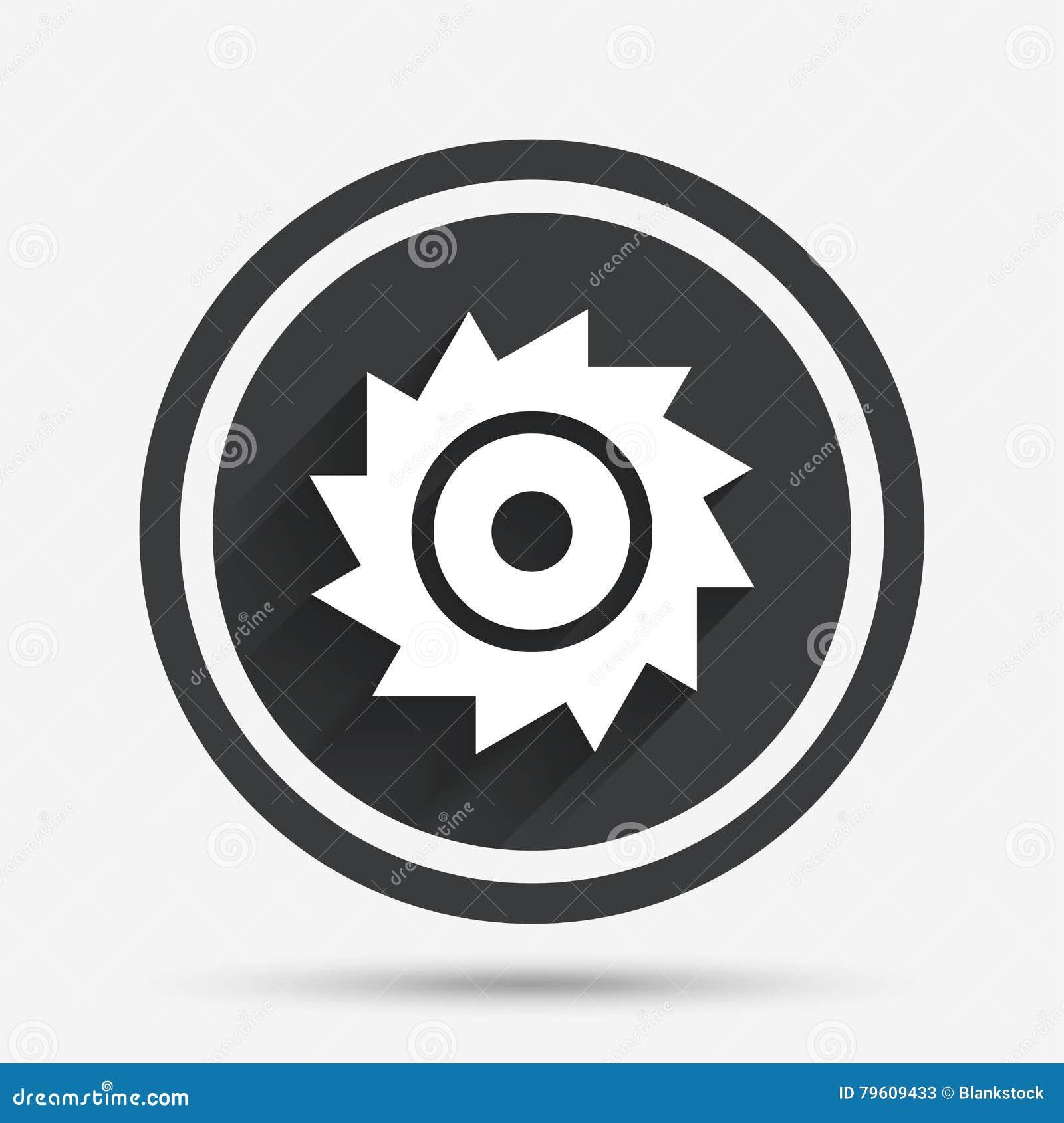 Viu o ícone circular do sinal da roda Lâmina de corte