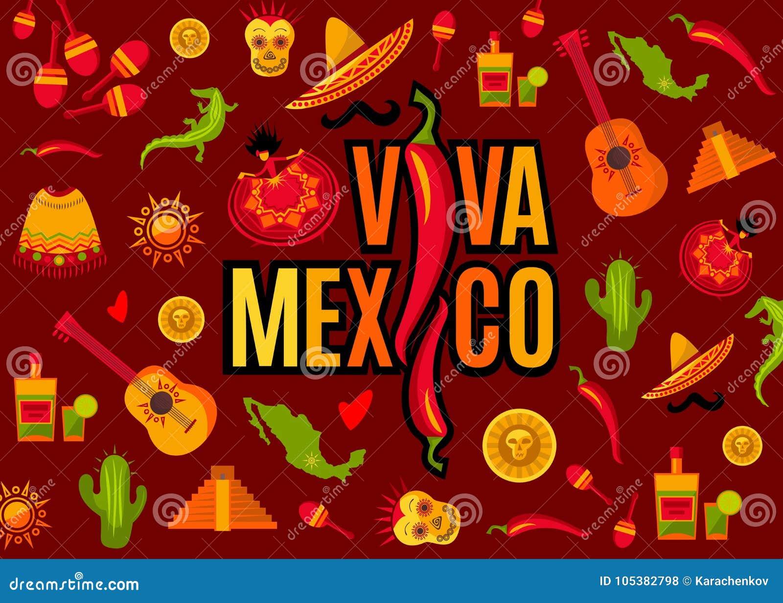Viva Mexico bokstäver och symbolsuppsättning
