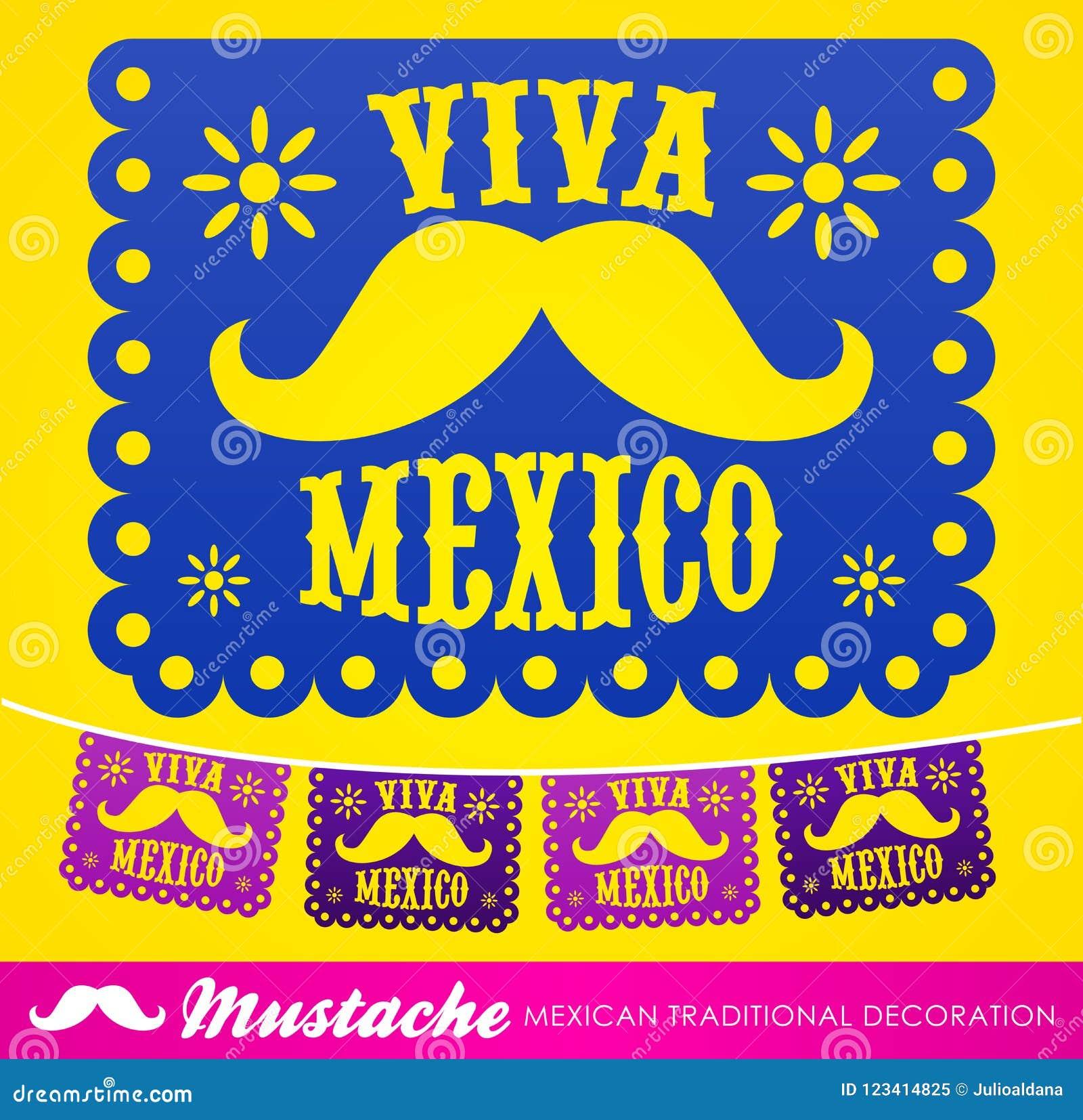 Viva Mexico Decoración Mexicana Del Vector Del Día De