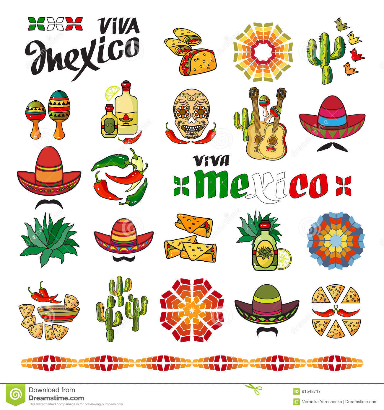 Viva Mexico Icon Set Of Cute Various Mexican Icons Stock Vector Illustration Of Decoration Cartoon 91548717