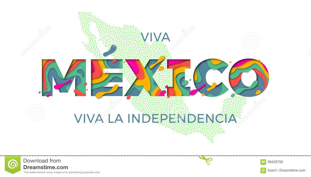 viva mexico lettering independence day mexican vector national