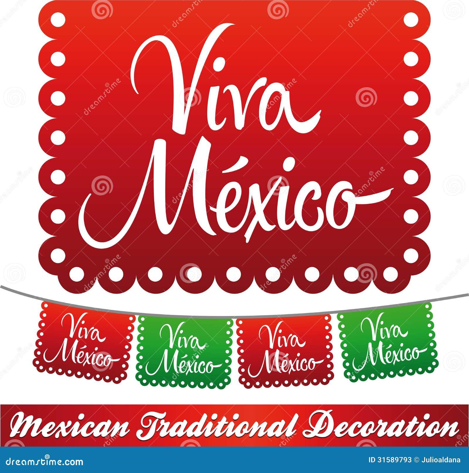 Viva Mexico Mexican Holiday Vector Decoration Stock