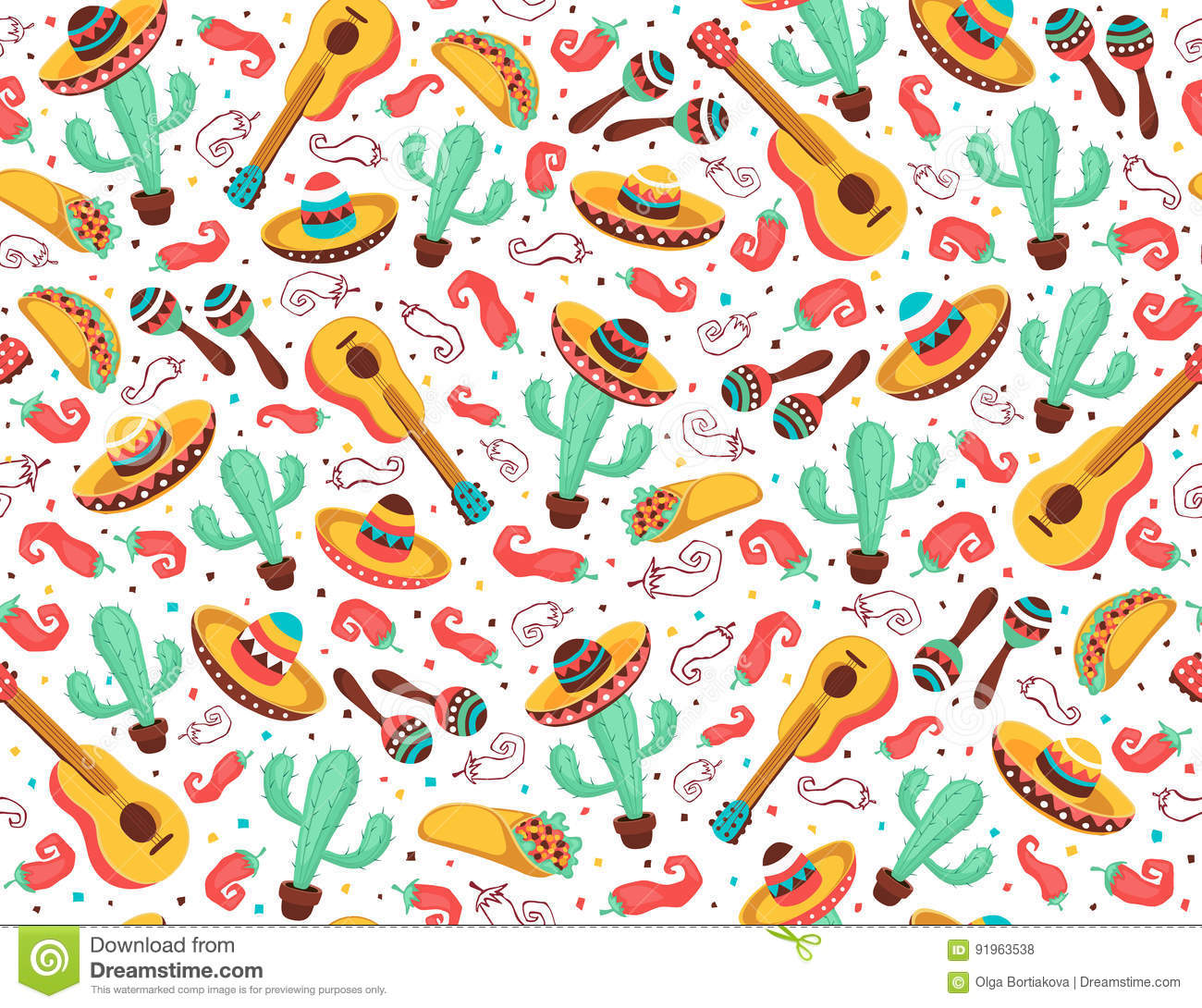 Viva Mexico Poster Stock Vector Illustration Of Flat 91963538