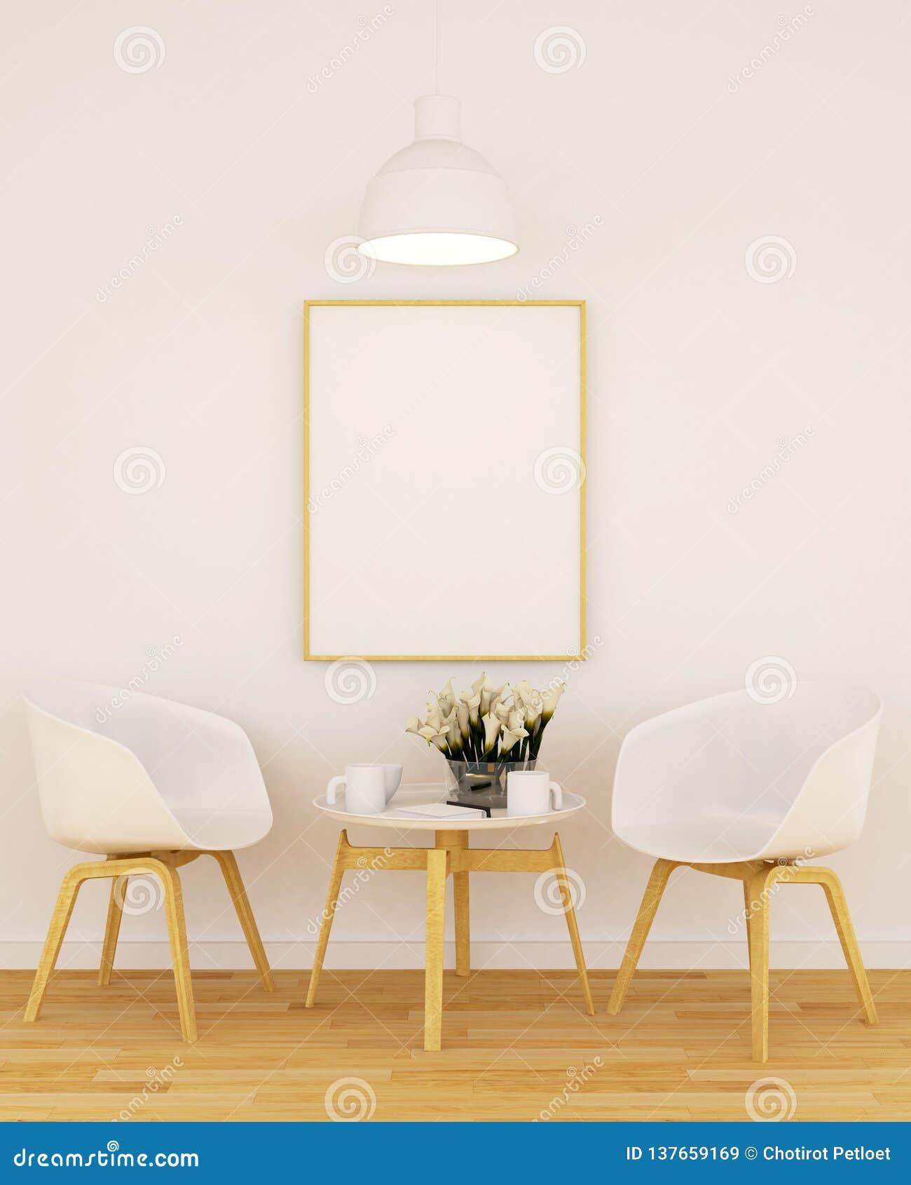 Vivente o pranzare e struttura per materiale illustrativo in caffetteria o in galleria - rappresentazione 3D