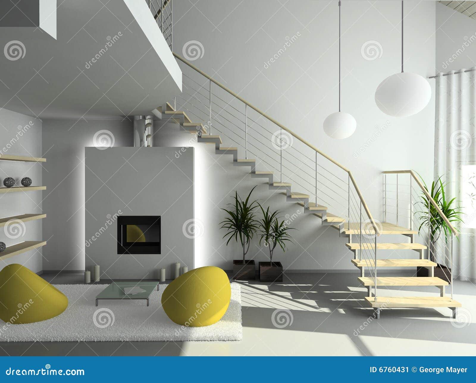 Vivere dell interiore 3d moderno rende la stanza