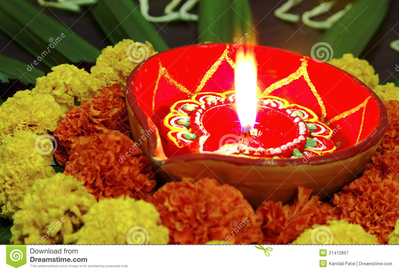 Vivid Colours Diwali Marigolds Diva Candle Lamp Stock