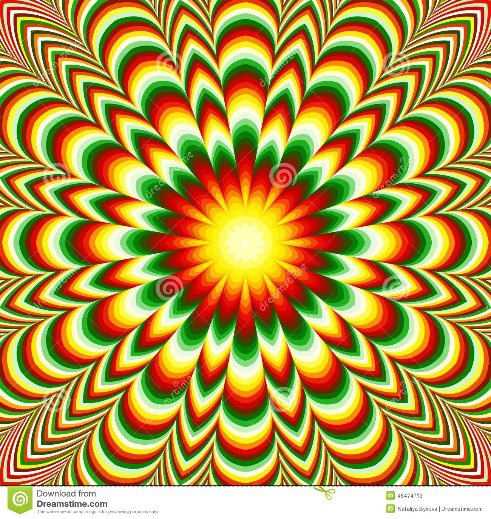 vivid flower mandala with optical illusion effect stock