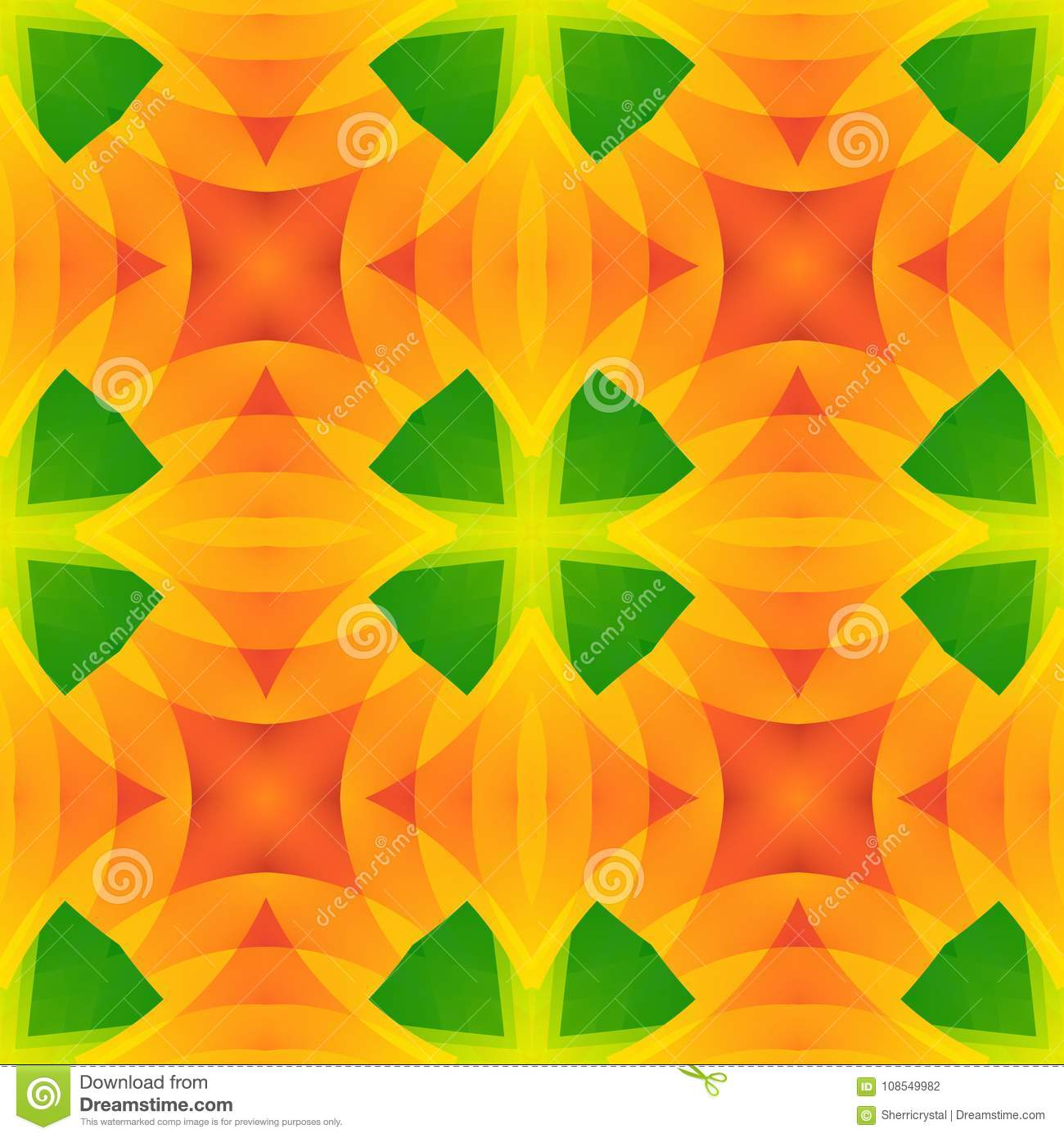 Vivid green orange abstract texture. Detailed background illustration. Seamless tile. Home decor fabric design sample. Tileable mo