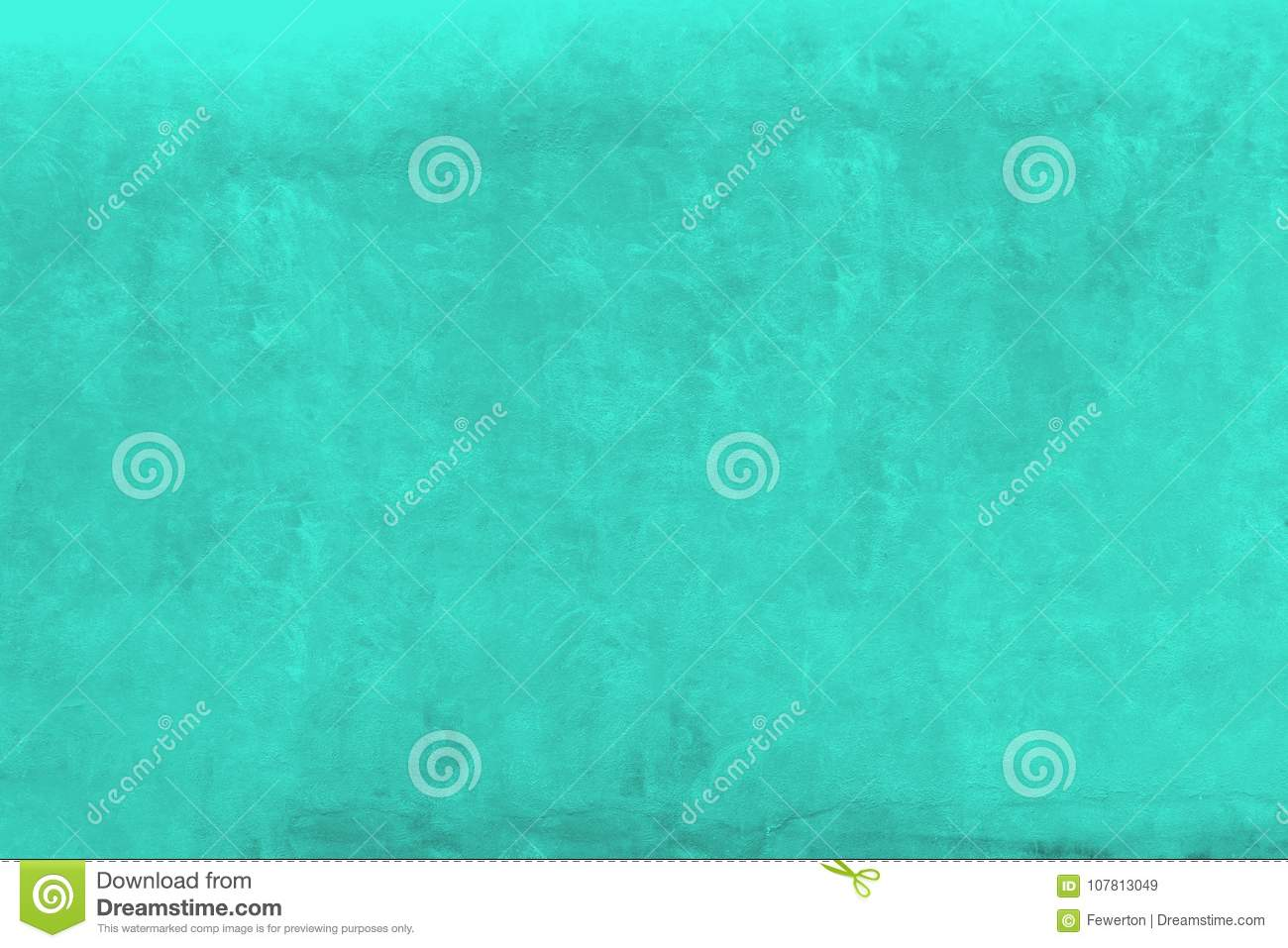 Vivid Green Turquoise Color Coarse Facade Wall As An Empty Rustic