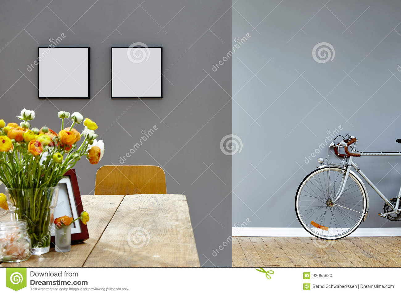 Wooden dining table background - Vivid Wooden Dining Table And Old Bike In Background Stock Photo