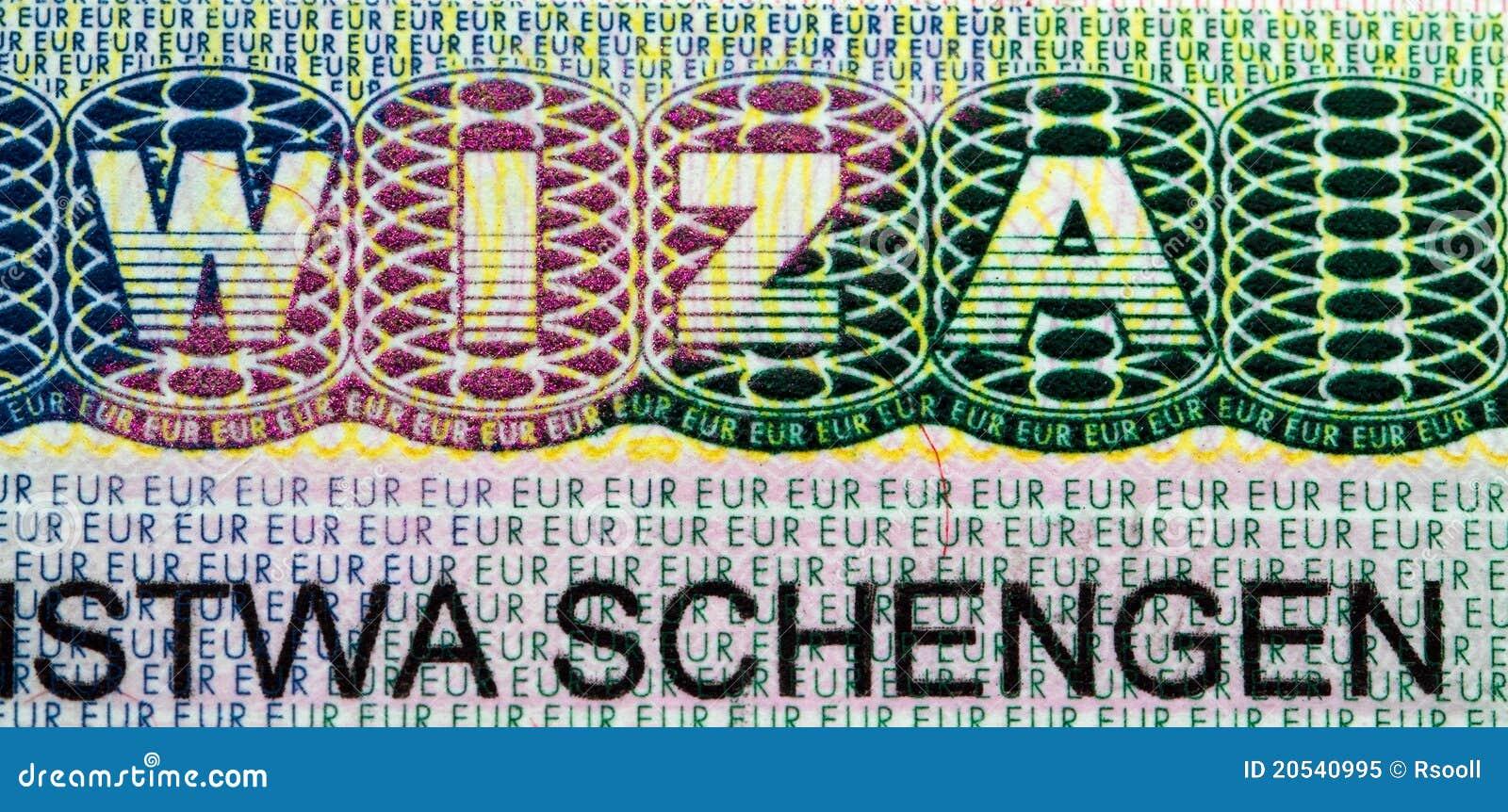 Makro Ein Foto Eines Teils Des Visum Im Paß Mit Einem Beschreibung Wiza  Schengen