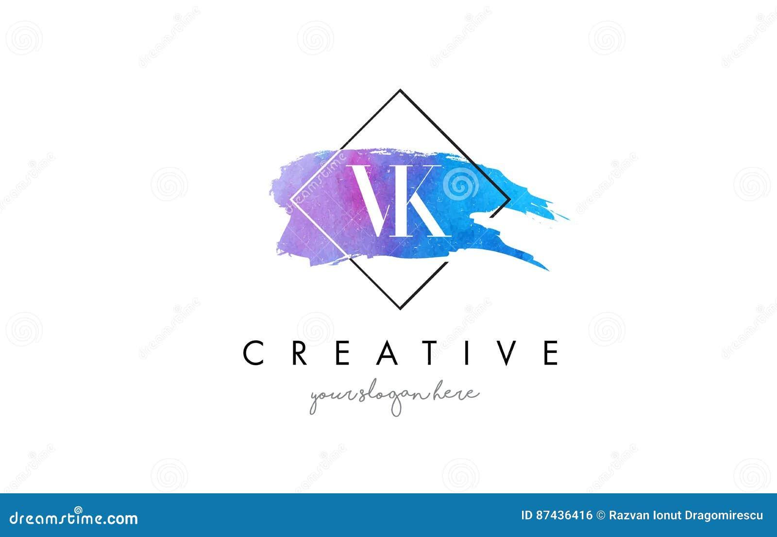 VK Artistic Watercolor Letter Brush Logo  Stock Vector