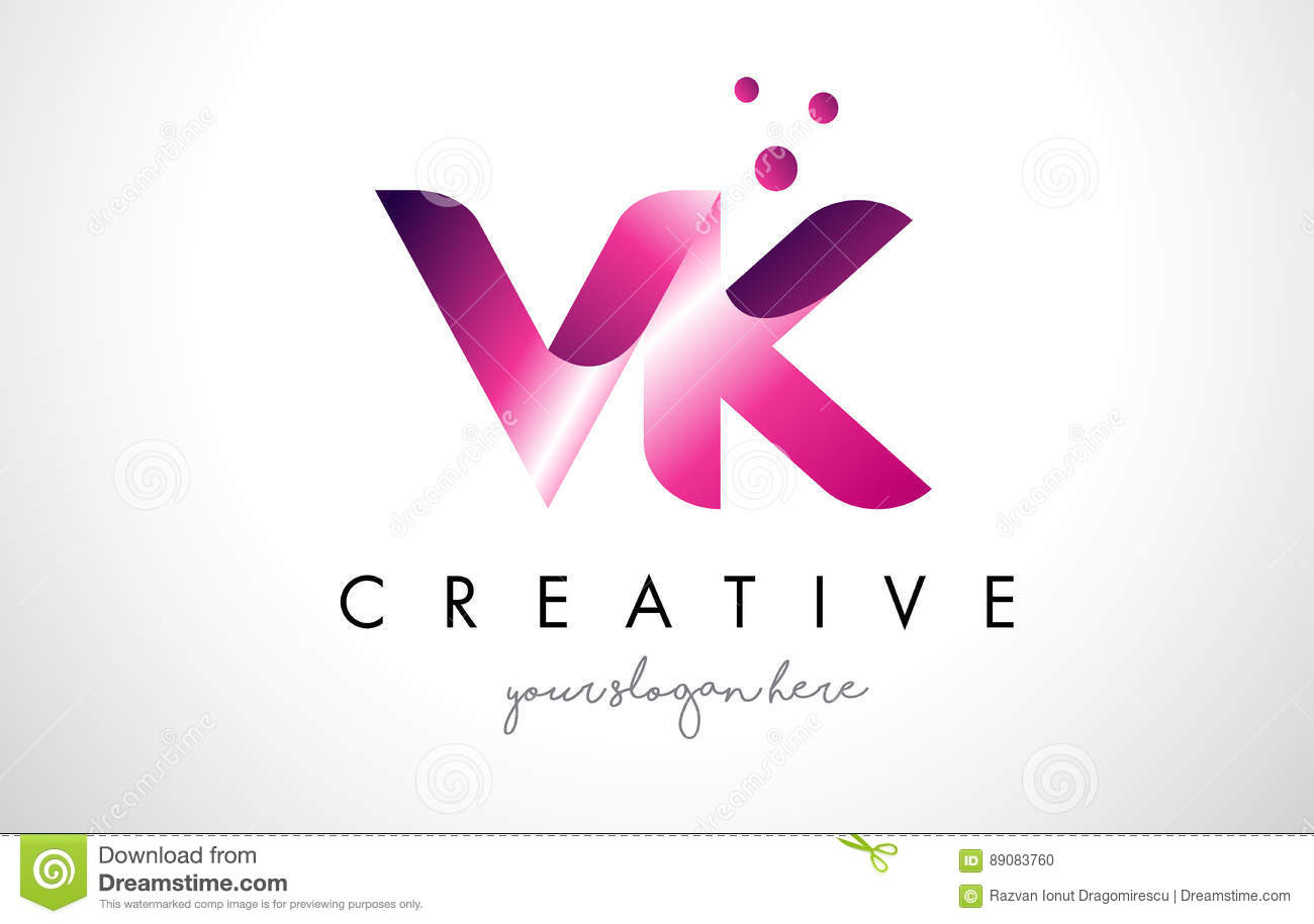 VK Letter Logo Design With Purple Colors And Dots Stock Vector ...