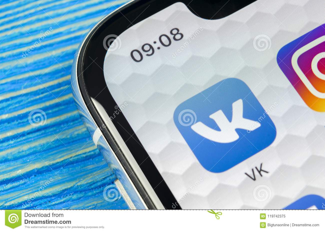 Vkontakte Application Icon On Apple IPhone X Screen Close-up