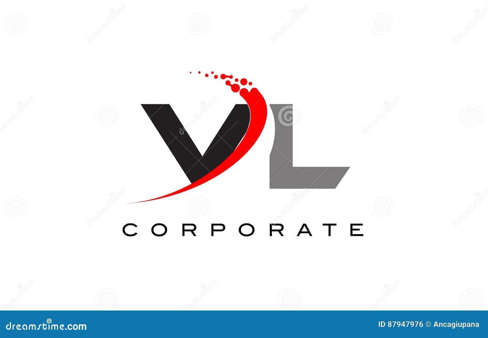 Vl Modern Letter Logo Design With Swoosh Stock Illustration