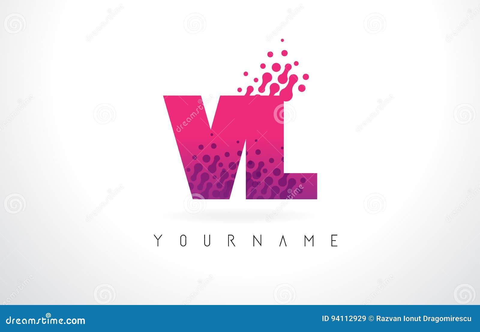 Vl V L Letter Logo With Pink Purple Color And Particles Dots Design
