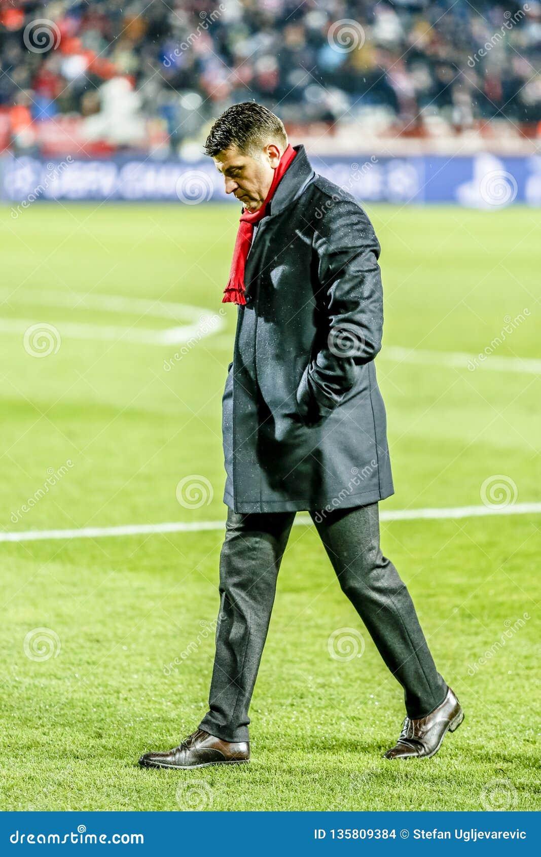 Vladan Milojevic coaching on a UEFA Champions League match
