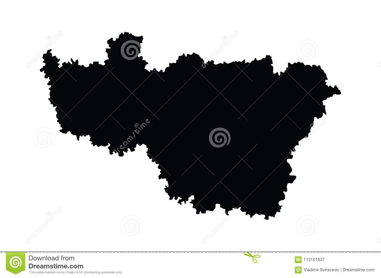 Vladimir Russia Map.Vladimir Oblast Map Map Isolated On White Background Russia Oblast