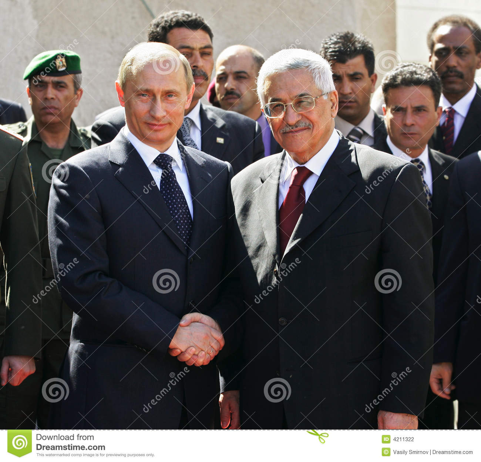 Vladimir Putin and Mahmoud Abbas