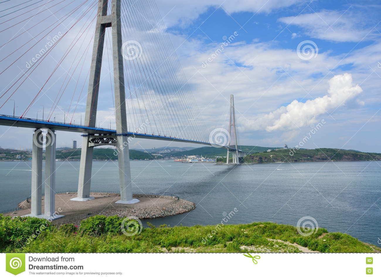 Vladivostok Russia  City new picture : Vladivostok, Russia, Cable stayed Bridge To Russian Island Stock Photo ...